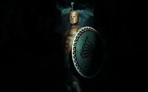 Картинка фон, доспехи, воин, шлем, щит