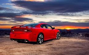 Картинка Закат, Небо, Красный, Вечер, Авто, Додж, Седан, Dodge, charger