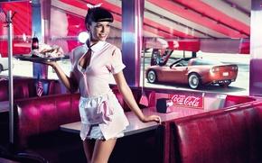 Обои машина, девушка, флаг, окно, кафе, официантка, кока-кола