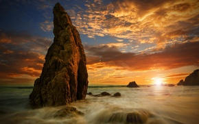 Картинка море, пляж, закат, скалы