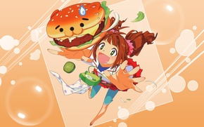 Картинка аниме, девочка, школьница. завтрак, артр