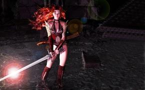 Картинка Картинка, в воде, в руках меч, девушка стоит