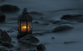 Картинка вода, камни, вечер, выдержка, фонарь, всет