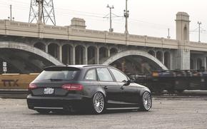 Картинка Audi, wheels, black, wagon, stance, avant
