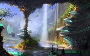 Картинка вода, птицы, город, человек, водопад, пещера, механизмы, колонна