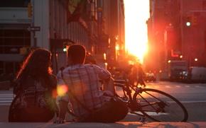 Картинка девушка, солнце, любовь, закат, велосипед, романтика, пара, love, парень, sunset, couple, романтический, Romantic