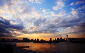 Картинка море, небо, облака, закат, мост, город, япония, синее, токио