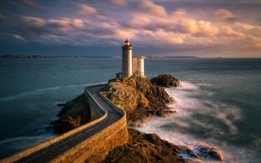 Обои маяк, море, пейзаж