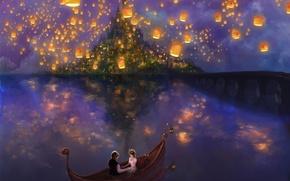 Обои вода, любовь, мост, lights, огни, озеро, хамелеон, замок, лодка, остров, сказка, Рапунцель, love, парочка, фонарики, ...