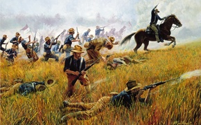 Картинка война, лошади, Rough Riders by Mort Kunstler, Kettle Hill, July 1, 1898 -- With the …