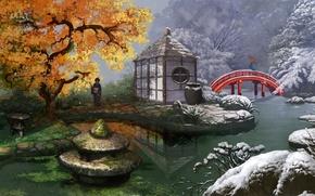 Картинка зима, осень, листья, снег, цветы, мост, пруд, девушки, времена года, азия, зонт, арт, кимоно, mugon, …