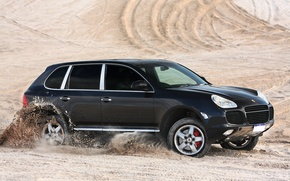Картинка Porsche, black, desert, speed, sand, Turbo, Cayenne