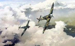 Картинка рисунок, арт, spitfire, bf-109, robert taylor, duel of eagles