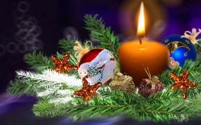 Картинка украшения, огонь, шары, елка, свеча, Рождество, Новый год, ёлка, красочные, новогодняя композиция