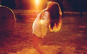 Картинка девушка, солнце, закат