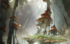 Картинка дом, река, фентези, лодка, арт, Donovan Valdes
