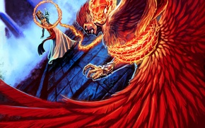 Картинка фантастика, огонь, змея, арт, феникс, темные силы