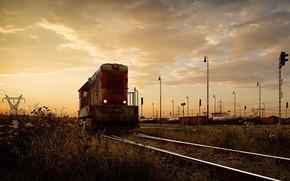 Обои дорога, рельсы, локомотив, Железная