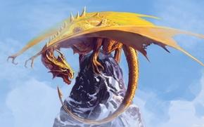 Картинка небо, морда, скала, фантастика, дракон, крылья, желтые, арт, пасть