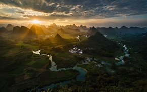 Обои холмы, долина, солнце, Китай
