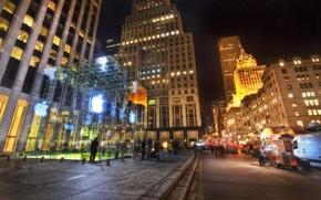 Картинка ночь, нью-йорк, Manhattan, new york, usa, nyc, Apple Store, Fifth Avenue