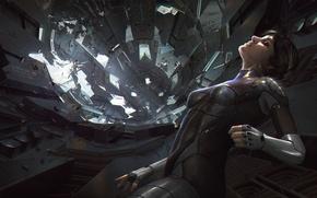 Обои zero gravity, космический корабль, by Efflam Mercier, catastrophe, скафандр, depressurization, арт, разгерметизация, обломки, wreck, декомпрессия, ...