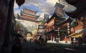 Картинка собака, повозка, азия, арт, дома, арка, люди, кони, город, храм, птицы, облака, пейзаж