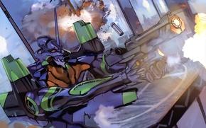Картинка огонь, атака, выстрел, броня, сражение, neon genesis evangelion, Евангелион, Evangelion, супер-оружие, боевой робот, UNIT-1, by …
