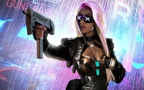 Обои оружие, очки, девушка, sci-fi, фантастика, блондинка, Cyberpunk