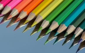 Картинка макро, карандаши, разноцветный