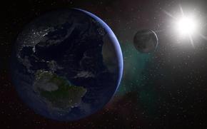 Картинка космос, звезды, поверхность, Солнце, Луна, Земля