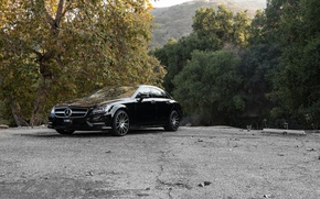 Картинка black, Mercedes Benz, мерседес, CLS550, sidefront