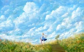Картинка поле, небо, трава, девушка, облака, зонтик, ветер, табличка, зонт, платье, арт, ступеньки, bou nin