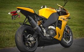 Картинка желтый, мотоцикл, вид сзади, bike, yellow, EBR, 1198rx, эбр