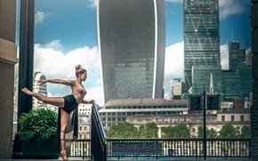 Обои город, Лондон, танец, балерина, Marine Fauvet