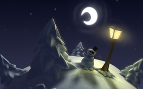 Картинка снег, луна, елка, фонарь, снеговик