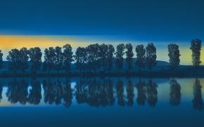 Картинка деревья, отражение, река, берег, утро