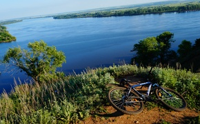 Картинка river, bike, nature, tree, hill