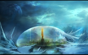 Картинка город, фентези, фантастика, планета, купол