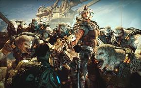 Картинка девушка, оружие, ситуация, монстры, боец, Gears of War