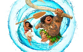 Обои абориген, Моана, тату, Maui, Мауи, вода, белый фон, мультфильм, Moana, весло, Walt Disney, оружие, постер, ...