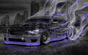 Картинка Tony kokhan, toyota, altezza, jdm, crystal, car, smoke, drift, style, violet, neon, night