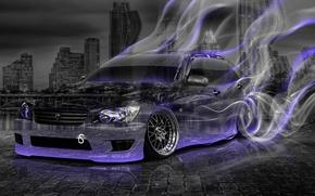 Картинка Tony kokhan, toyota, altezza, jdm, crystal, car, smoke, drift, style, violet, neon, night