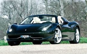 Картинка трава, деревья, Ferrari, grass, кабриолет, феррари, 458, italia, италия, tree, cabrio