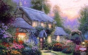 Картинка лето, цветы, уют, тепло, спокойствие, тишина, вечер, домик, коттедж, Thomas kinkade, кинкейд