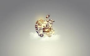 Картинка фон, apple, яблоко, технологии, облако