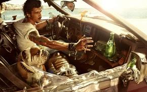 Обои машина, лето, жара, собака, парень, perrier, минеральная вода