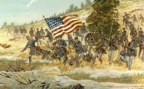 Обои флаг, американцы, америка, бегут, кавбои, Gettysburg, July 2, 1863..The Battle of Gettysburg, Twentieth Maine, the ...