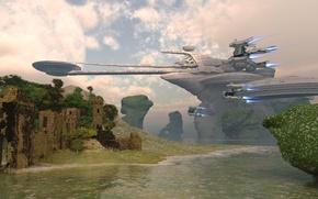 Картинка sky, bridge, water, clouds, rocks, spaceship, planet, castle, heritage site