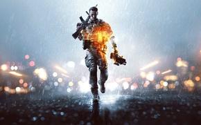 Картинка огни, оружие, дождь, солдат, шлем, экипировка, каска, бронежилет, Electronic Arts, DICE, Battlefield 4, EA Digital …